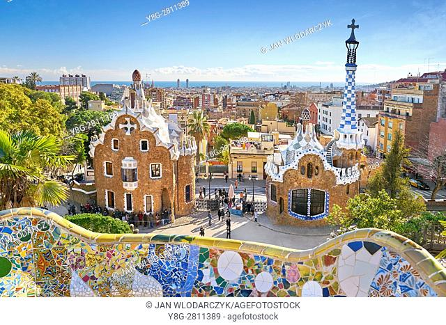 Park Guell by Antoni Gaudi, Barcelona, Catalonia, Spain