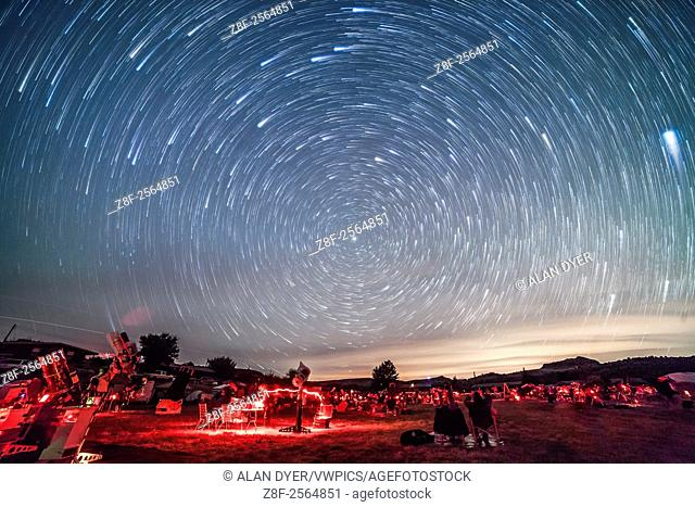 Circumpolar star trails over the upper field of the Texas Star Party, May 13, 2015. The star party attracts hundreds of avid stargazers to the Prude Ranch near...