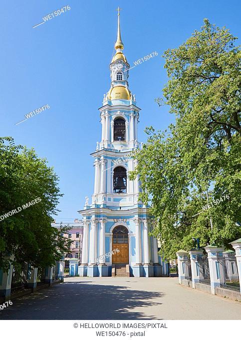 Bell tower of St Nicholas' Cathedral, Sennaya Ploshchad, St Petersburg, Russia