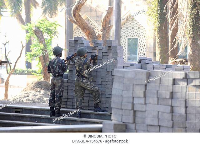 Commandos outside the Taj Mahal hotel ; after terrorist attack by Deccan Mujahedeen on 26th November 2008 in Bombay Mumbai ; Maharashtra ; India
