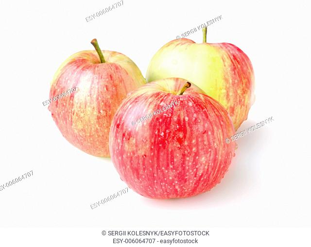 Three ripe apples isolated on a white background