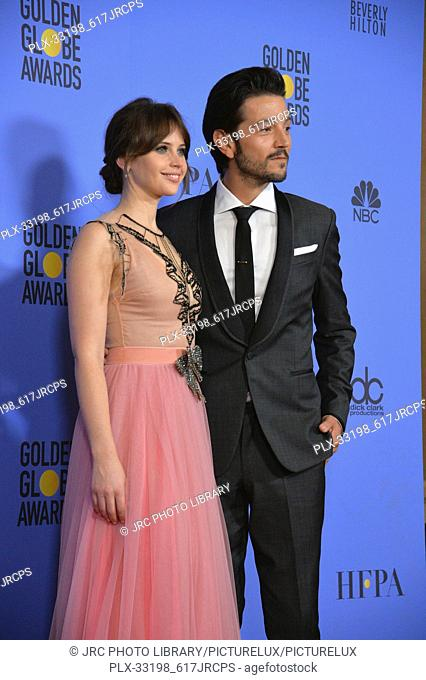 Felicity Jones & Diego Luna at the 74th Golden Globe Awards at The Beverly Hilton Hotel, Los Angeles, CA , USA , January 8, 2017