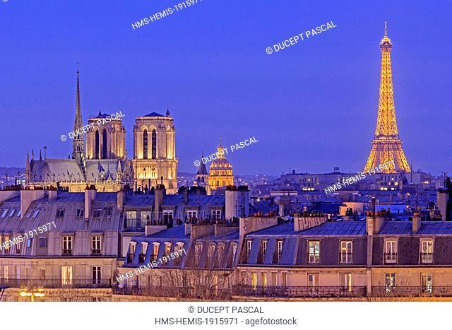 France, Paris, the Notre Dame cathedral on the Ile de la Cite, the Eiffel Tower (© SETE illuminations Pierre Bideau), the Invalides dome and the Saint Germain...
