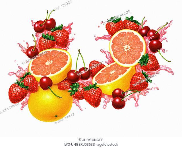 Strawberry, Grapefruit and Cherry Splash