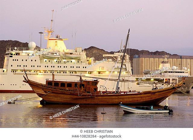 harbor, port, ship, ships, boats, mood, sea, coast, dusk, twilight, Muttrah, courage yard, Maskat, Muscat, Oman, Arabi