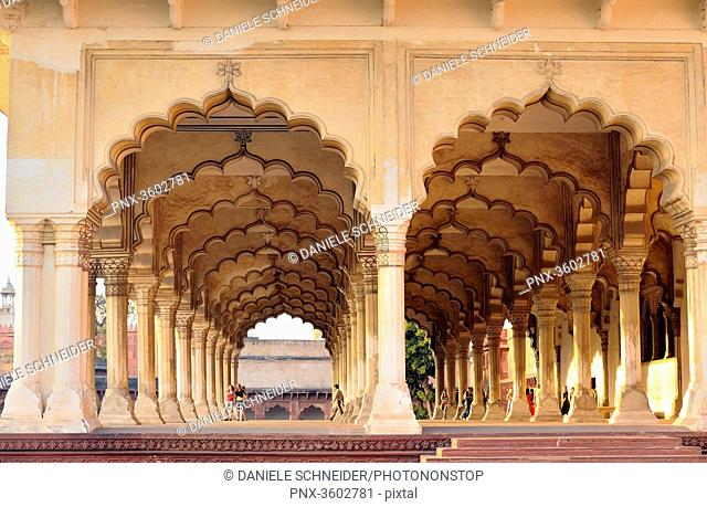 India, Uttar Pradesh, The Diwan-i-Am, or Hall of Audience in the Red Fort of Agra