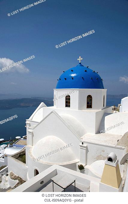 Whitewashed church with blue dome, Oia, Santorini, Cyclades, Greece