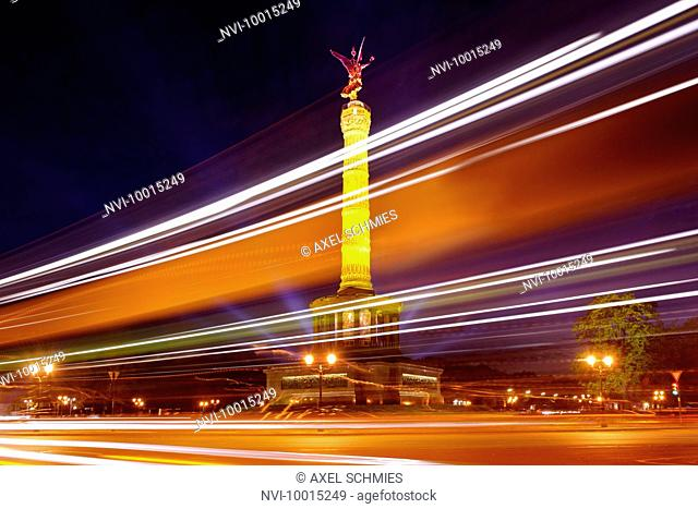 Illuminated Victory Column, Tiergarten, Mitte district, Berlin, Germany