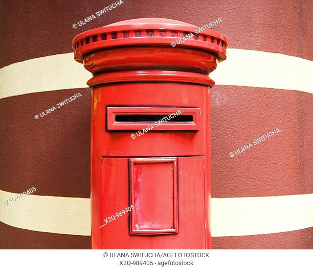 Red British Post Box left from the colonial period in Hong Kong China