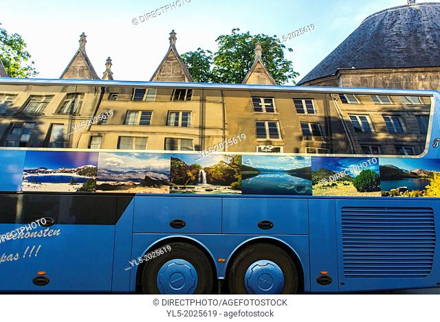 Paris, France, Street Scenes in Latin Quarter, Building Facade in Window reflection on Tour Bus