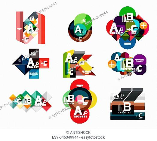 Collection of paper geometric infographics, a b c process options, presentation layouts. Vector illustration