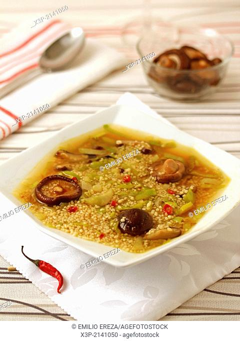Millet soup with mushrooms