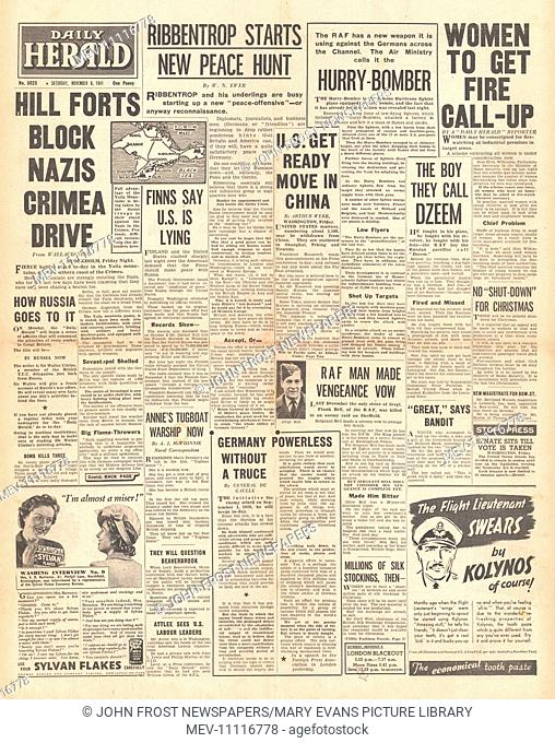 1941 front page Daily Herald Battle for the Crimea, Von Ribbentrop begins new diplomatic peace negotiations and women to be conscripted in Fire Watching