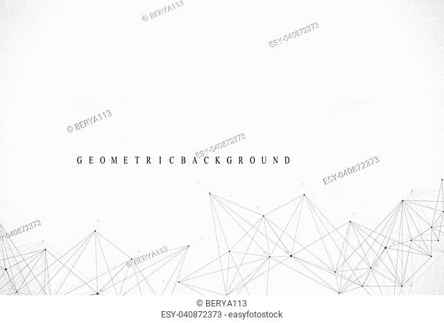 Geometric graphic background communication. Global network connections. Wireframe complex with compounds. Perspective backdrop