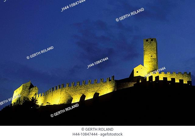 Switzerland, Europe, Canton Ticino, Bellinzona, Castel Grand, castle, dusk, twilight, evening, lights, mountains, moun