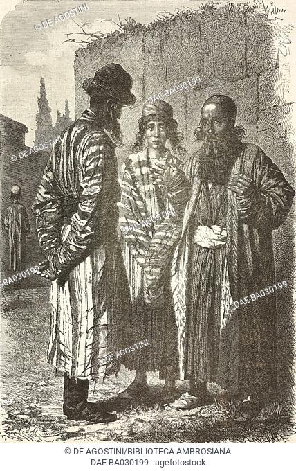 Jewish men in Tashkent, Uzbekistan, drawing by Sedoff from Journey through Central Asia, 1867-1868, by Vasily Vereshchagin (1842-1904)