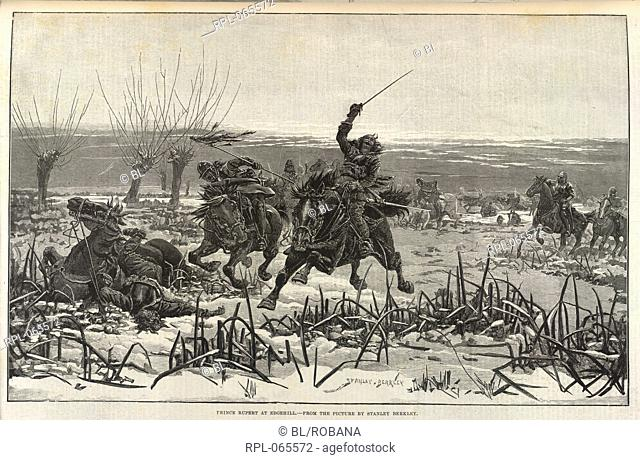 Prince Rupert at the battle of Edgehill, during the English Civil War. From the picture by Stanley Berkley. Image taken from Illustrated London News