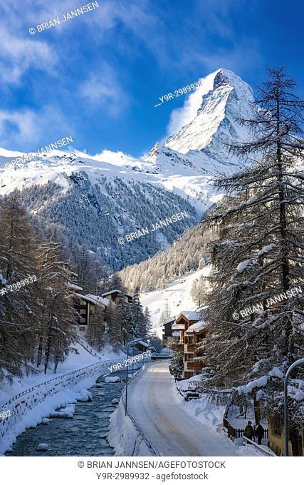 The Vispa River flows below the peak of the Matterhorn through town of Zermatt in the Canton of Valais, Switzerland