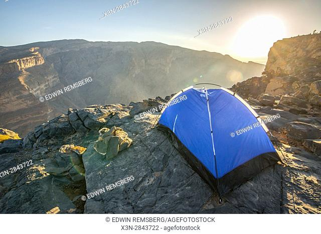 Jebel Shams; Tent pitched to overlook gorge from Summit at Al Hajar Mountains range