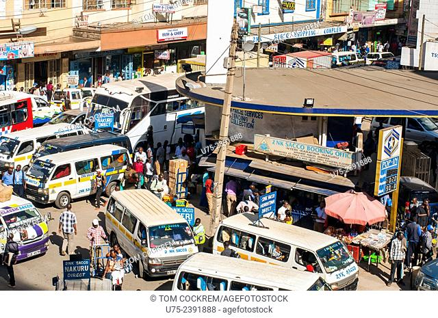 Aerial view of Accra street and parked matatus, Downtown Nairobi, Kenya