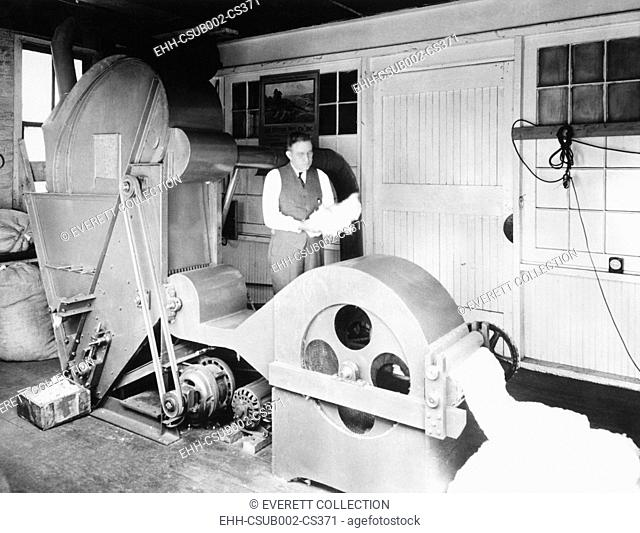 Frank H. Watson of Jonesboro, Arkansas, invented a revolutionary cotton gin. Dec. 21, 1937. It whirls the cotton in a revolving drum as it extracts the its...