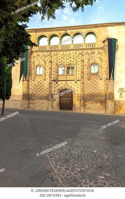 Palace of Jabalquinto is located in the Plaza de Santa Cruz, town Baeza, province Jaén, Andalusia, Spain