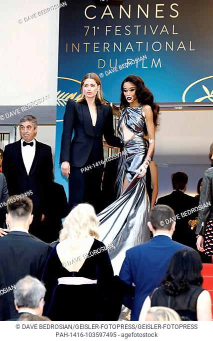 Winnie Harlow and Doutzen Kroes attending the 'Solo: A Star Wars Story' premiere during the 71st Cannes Film Festival at the Palais des Festivals on May 15