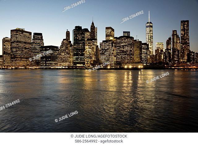 Downtown Manhattan, New York City, Skyline at Twilight
