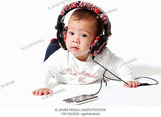 Baby listening to music