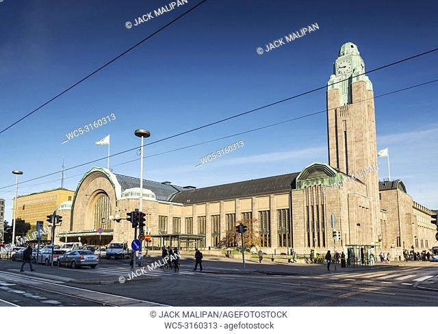 central helsinki city railway station landmark and street in finland