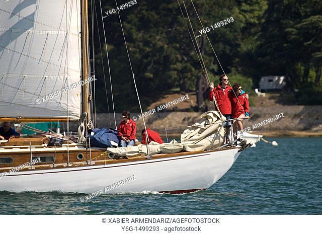 Classic yatch sailing  Bay of Morbihan, Brittany, France