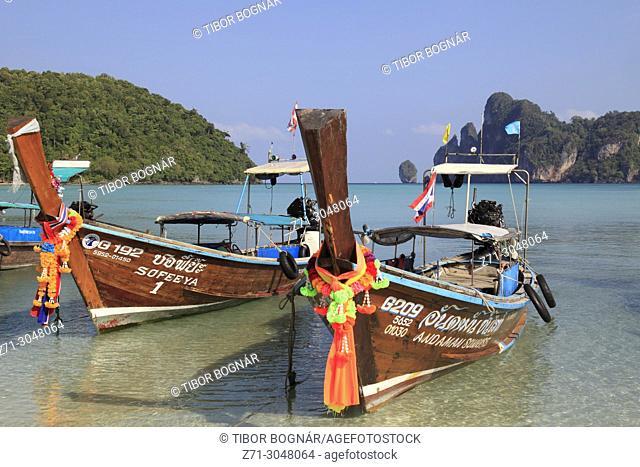Thailand, Krabi, Phi Phi Don Island, landscape, scenery, boats, beach,