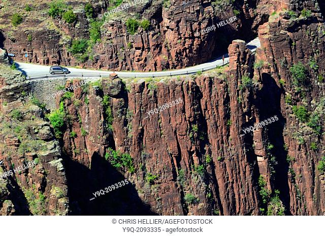 Motoring or Driving Along Narrow Road Daluis Gorge Haut-Var Alpes-Maritimes France