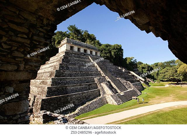 Framed view to the Temple of Inscriptions at the Palenque Archaeological Site, Palenque, Chiapas State, Mexico, North America