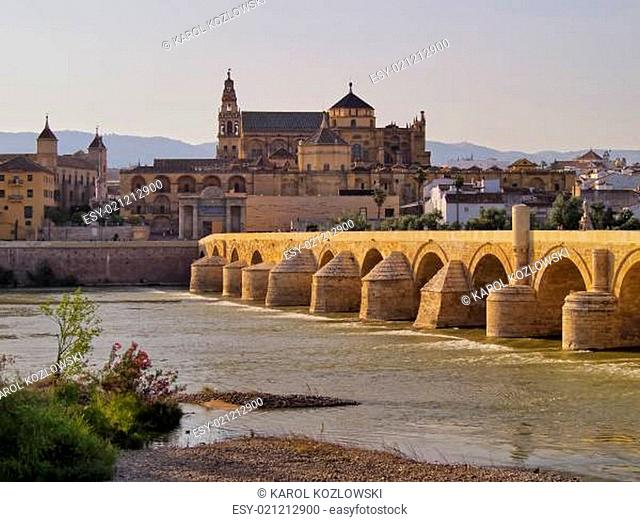 Mosque-Cathedral and the Roman Bridge in Cordoba, Spain