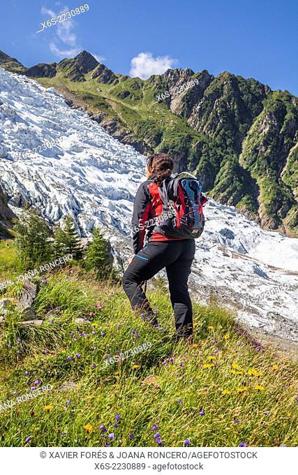 Glacier des Bossons is the highest ice cascade in Europe in the mountainside of Mont-Blanc peak, Chamonix, Haute-Savoie, Rhône-Alpes, France