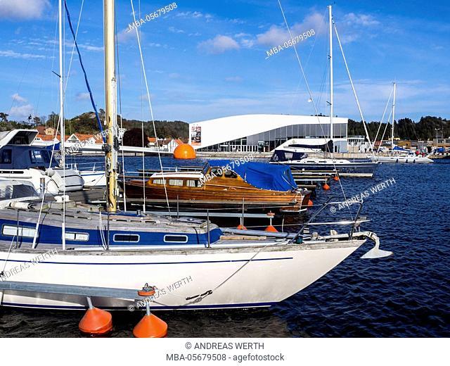 Anchored boats, marina of Mandal, Vest-Agder, Norway