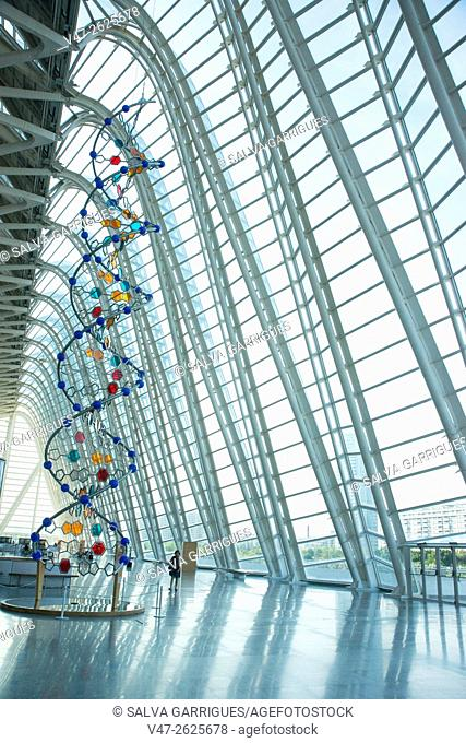 Artistic representation of the DNA molecule at the Museum of Sciences Prince Felipe, Valencia, Spain, Europe