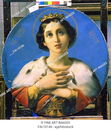 Saint Olga, Princess of Kiev. Shamshin, Pyotr Mikhailovich (1811-1895). Oil on canvas. Russian Painting of 19th cen. . 1848. State Russian Museum, St