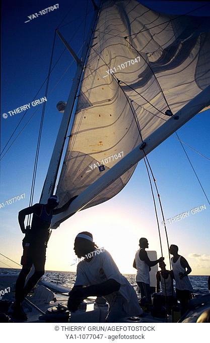 Black crew members on a catamarn cruise  Bayahibe, Dominican republic, Caribbean