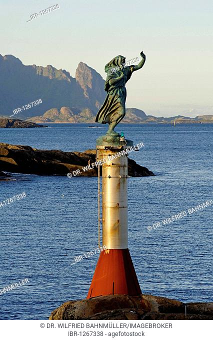 Fisherman's wife looking for her husband, bronze sculpture by Per Ung, 1999, entrance to the harbour, Svolvaer, Norway, Scandinavia, Europe