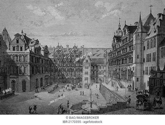 Courtyard of Heidelberg Castle in 1683, Heidelberg, Baden-Wuerttemberg, Germany, historical engraving, 1883