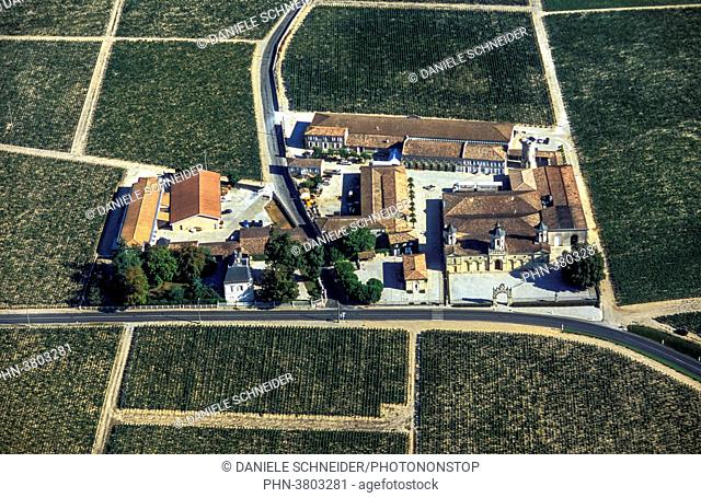 France, Gironde, Medoc, aerial view of the Chateau Cos d'Estournel, AOC St Estephe