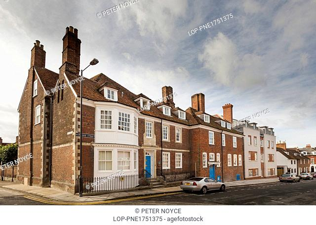 England, Wiltshire, Salisbury. Exterior street view of the old buildings that make Damascus House and Emmaus House in Salisbury