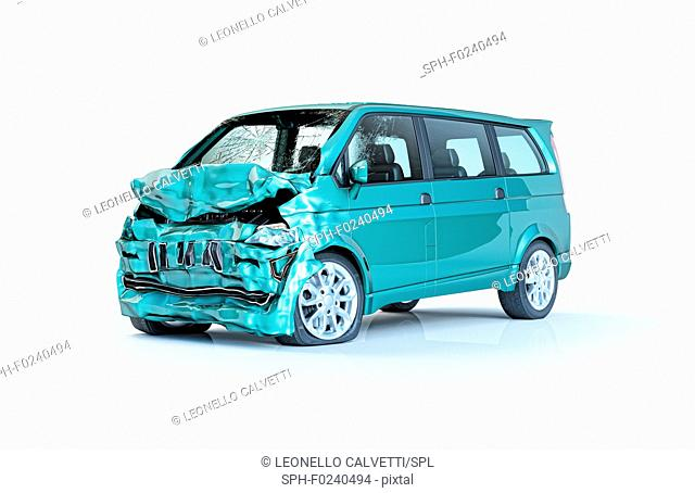 Single car accident. Green van heavily damaged on the front part. Isolated on white background. Perspective view