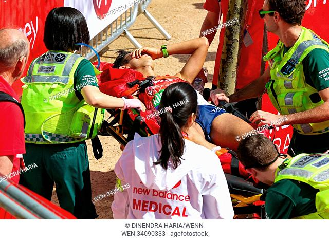 Around 40,000 runners take part in the 38th London Marathon. The elites runners followed by thousands of club athletes, fun runners, charity fundraisers