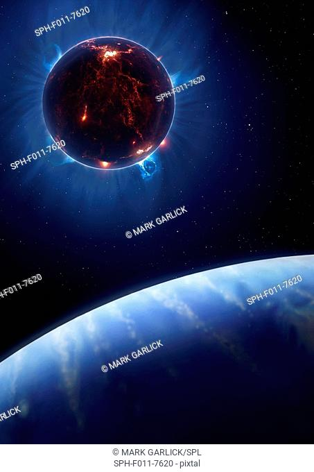 Artwork of a volcanic moon eclipsing a star. The moon is in a close orbit around a hypothetical giant planet somewhat like Neptune