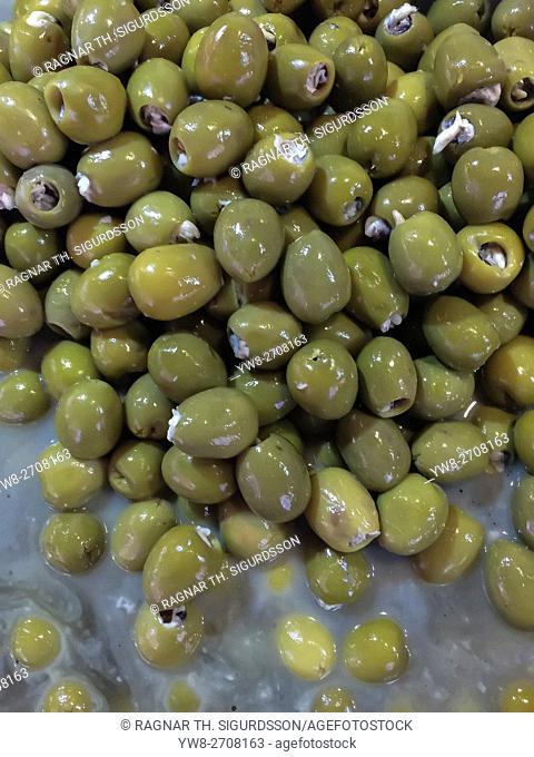 Green olives at a local market in Alicante, Spain
