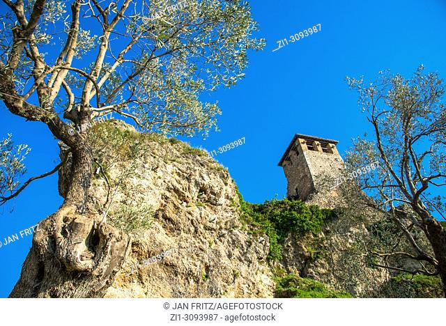 tower at the remains of Kruje castle, Albania