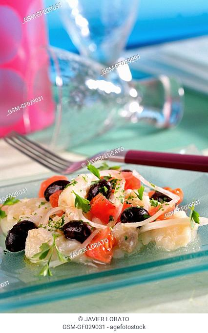 Shredded salt cod salad